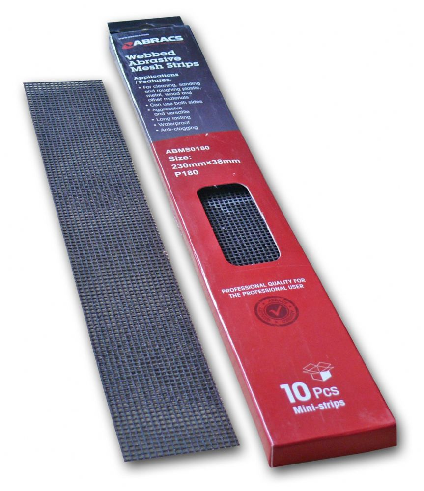 Abracs Webbed Abrasive Mesh Strips. Pack of 10 mini-strips.